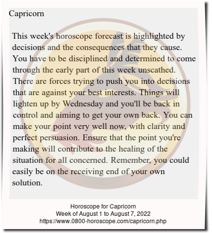 Weekly Horoscope For Capricorn