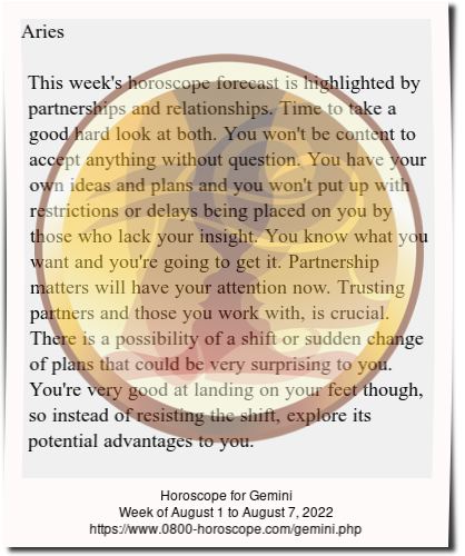 Weekly Horoscope For Gemini