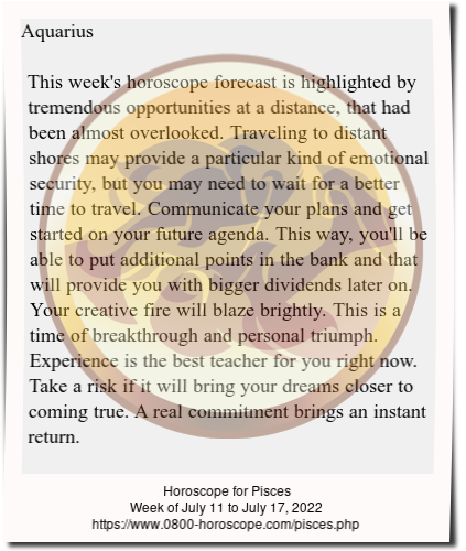 Weekly Horoscope for Pisces