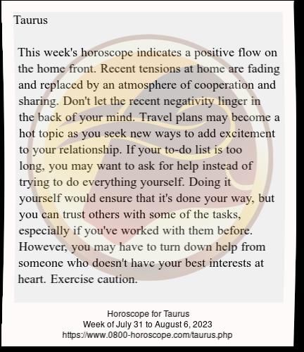 weekly horoscope for taurus